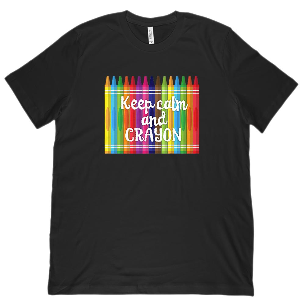 (Unisex BC 3001 Soft Tee) Keep Calm and Crayon Graphic Teacher