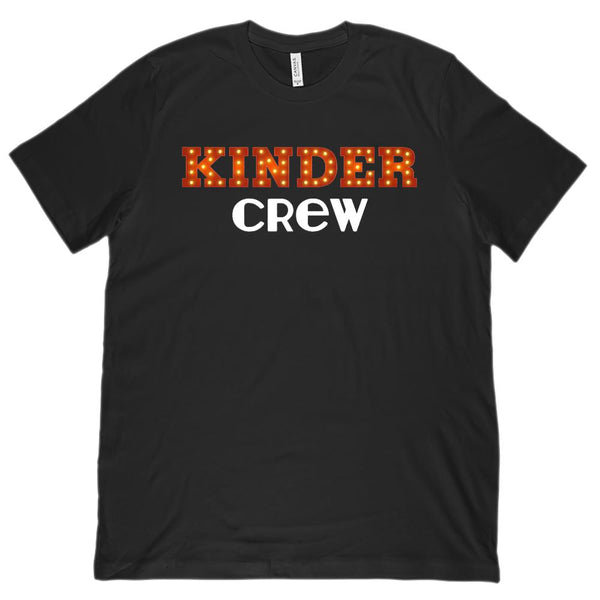(Unisex BC 3001 Soft Tee) Kinder Crew Showlight Teacher Teaching Kindergarten Graphic T-Shirt Tee BOXELS