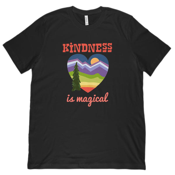 (Unisex BC 3001 Soft Tee) Kindness is Magical Heart Outdoors Graphic T-Shirt Tee BOXELS