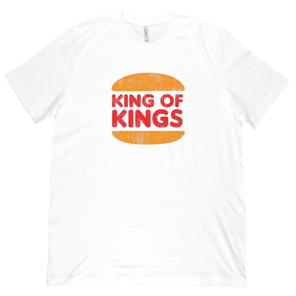 (Unisex BC 3001 Soft Tee) King of Kings Burger Parody Christian Gospel Graphic T-Shirt Tee BOXELS