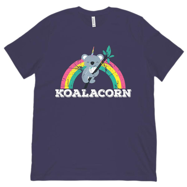 (Unisex BC 3001 Soft Tee) Koalacorn Rainbow Tree Kawaii Unicorn Koala Graphic T-Shirt Tee BOXELS