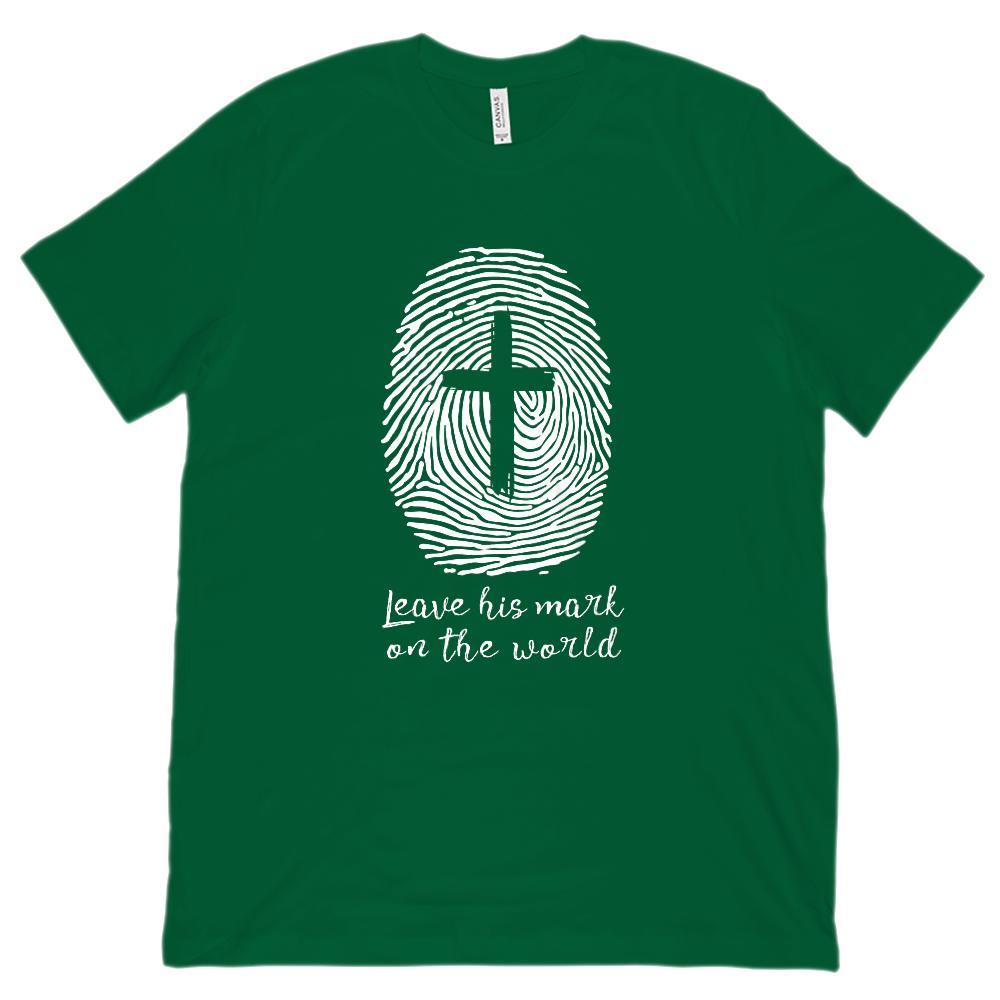 (Unisex BC 3001 Soft Tee) Leave His Mark on the World (finger print cross) Graphic T-Shirt Tee BOXELS