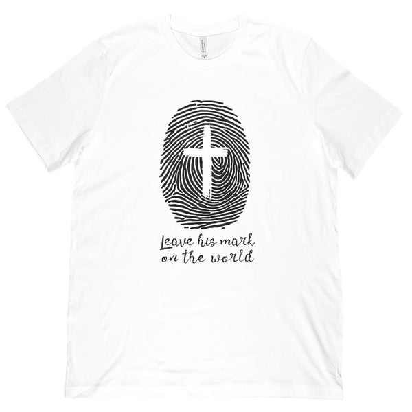 (Unisex BC 3001 Soft Tee) Leave His Mark on the World (finger print cross) Dark Graphic T-Shirt Tee BOXELS