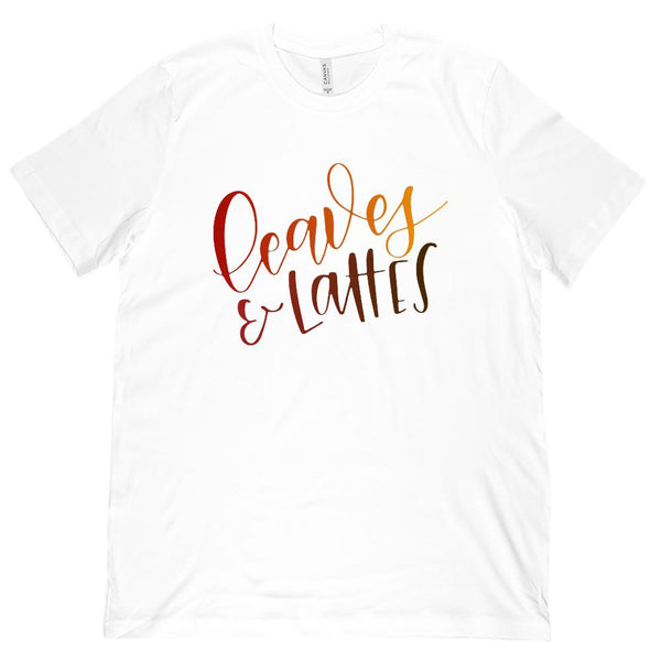 (Unisex BC 3001 Soft Tee) Leaves & Lattes Autumn Fall (colored font) Graphic T-Shirt Tee BOXELS