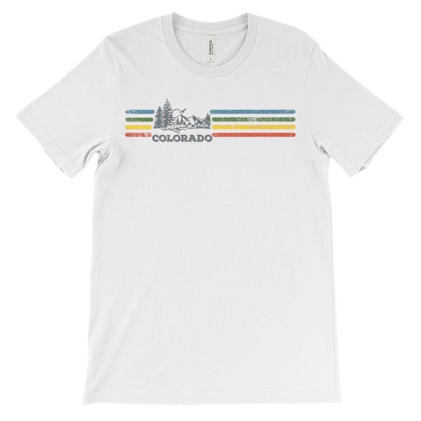 (Unisex BC 3001 Soft Tee Light) Iconic State Scenery Colorado Retro Rainbow Graphic T-Shirt Tee BOXELS