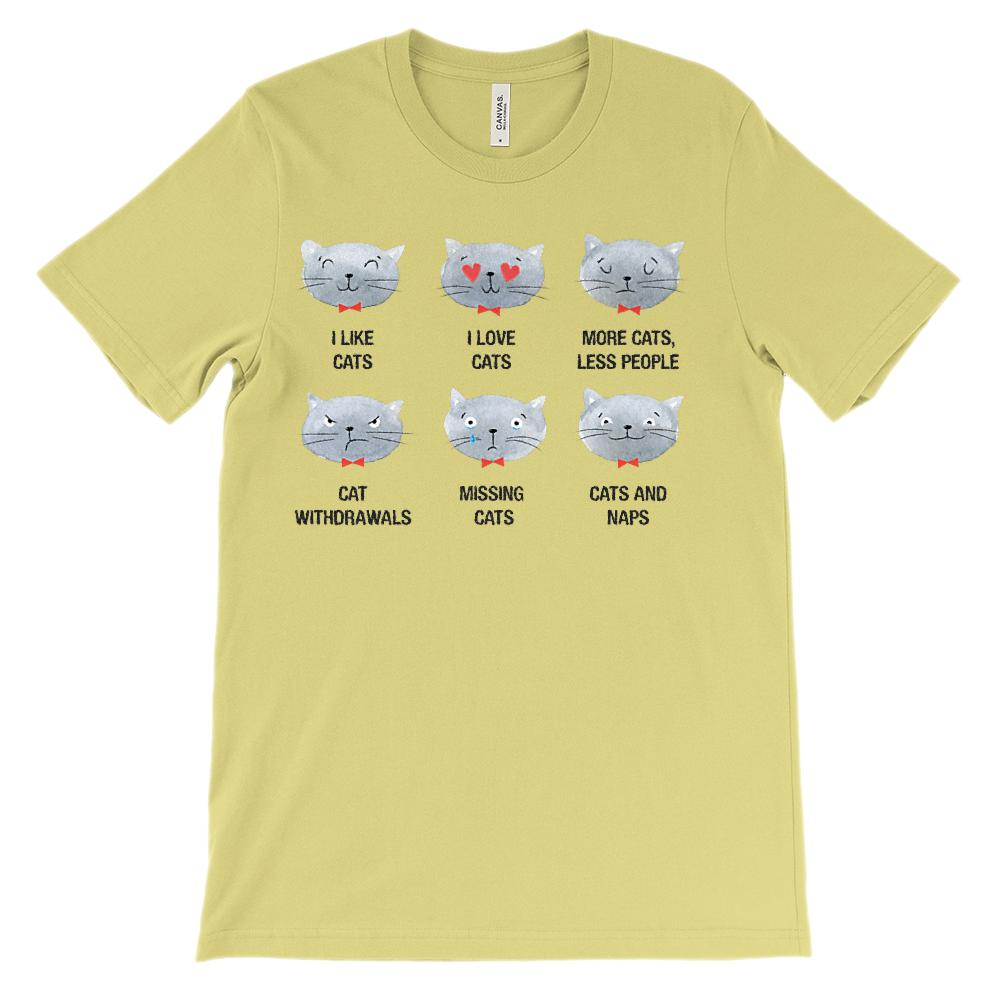 (Unisex BC 3001 Soft Tee Light Tees) I Love Like Cats Emoji Sayings Graphic T-Shirt Tee BOXELS