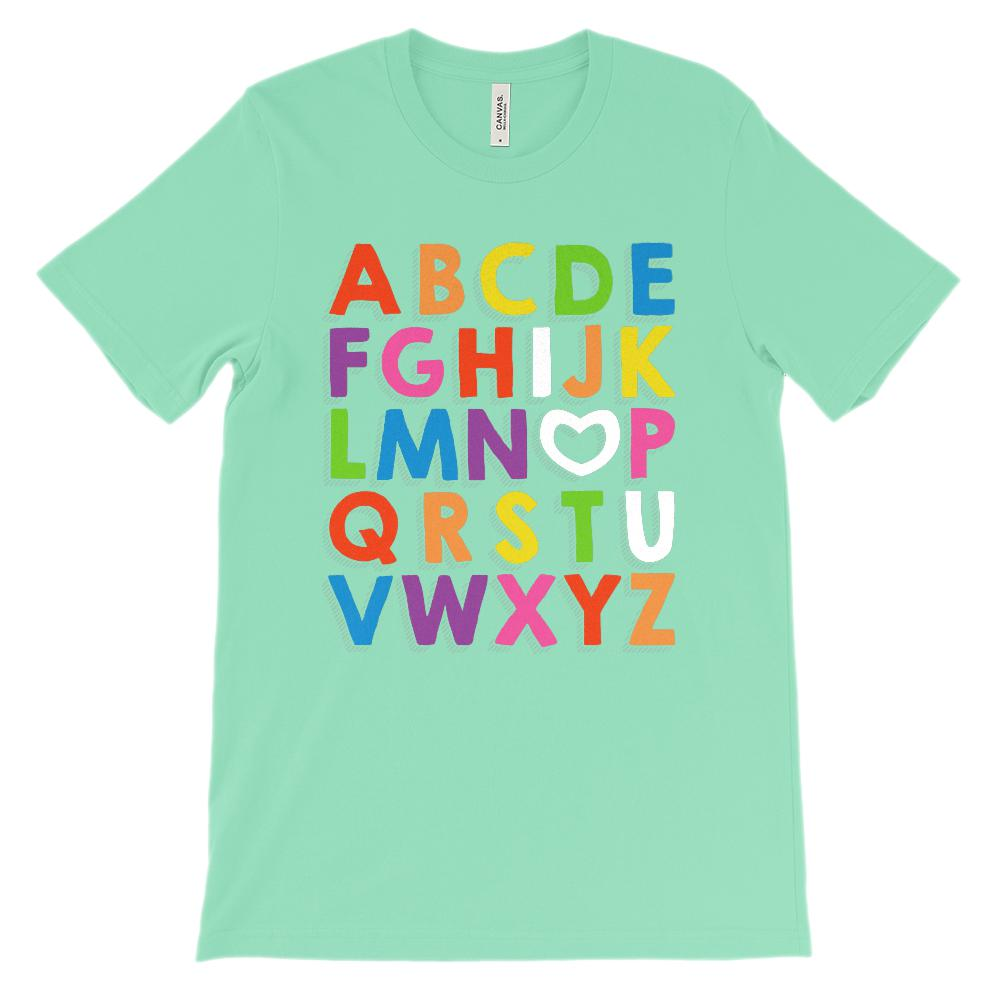 (Unisex BC 3001 Soft Tee Lights) Alphabet I Love (heart letter O) You (White) Graphic T-Shirt Tee BOXELS
