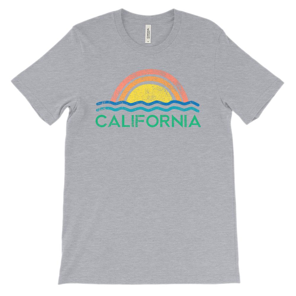 (Unisex BC 3001 Soft Tee Lights) California Ocean Vintage Sunset Graphic T-Shirt Tee BOXELS