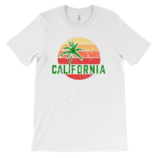 (Unisex BC 3001 Soft Tee - Lights) California Palm Sunset Graphic T-Shirt Tee BOXELS