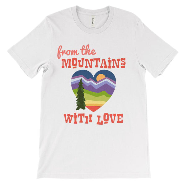 (Unisex BC 3001 Soft Tee - Lights) From the Mountains with Love Graphic T-Shirt Tee BOXELS