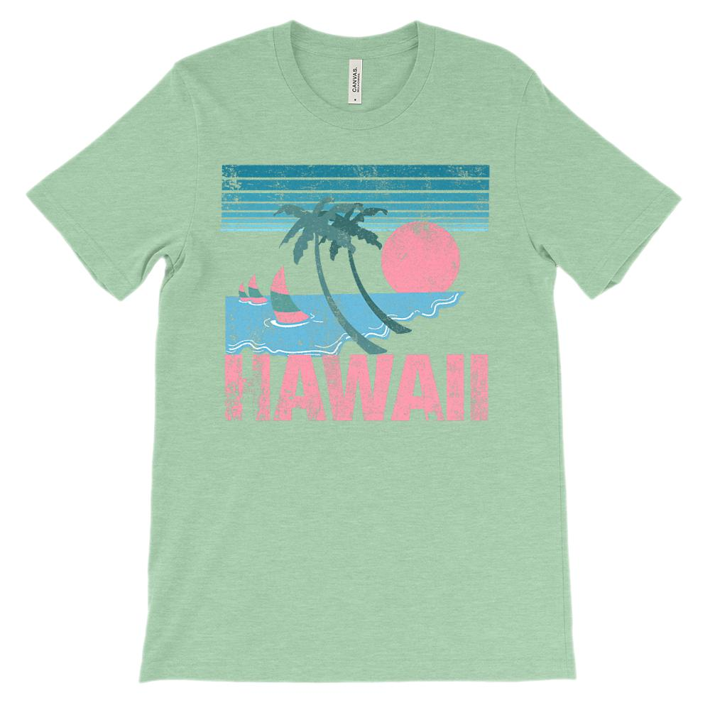 (Unisex BC 3001 Soft Tee Lights ) Hawaii Pink Sunset Graphic T-Shirt Tee BOXELS