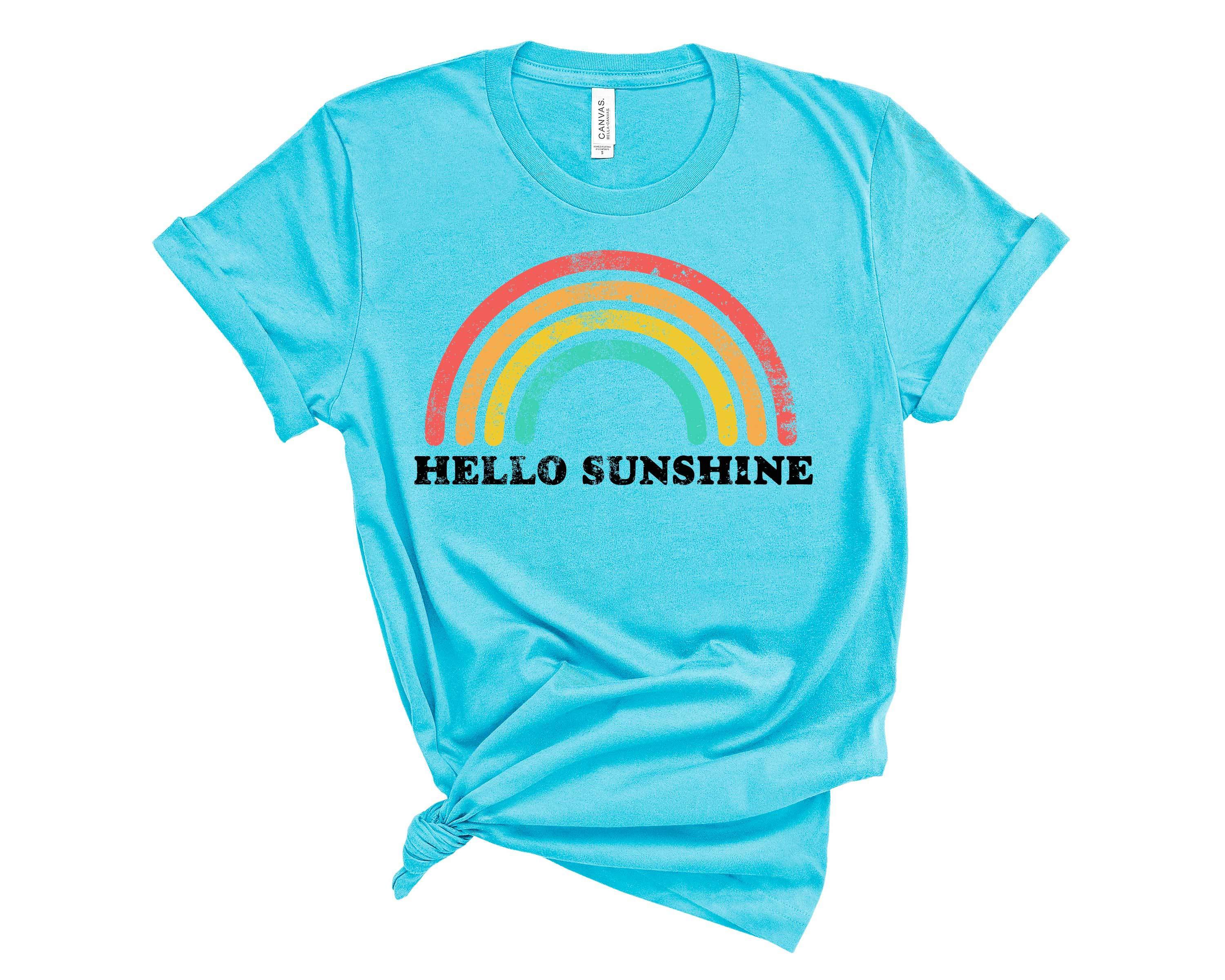 (Unisex BC 3001 Soft Tee - Lights) Hello Sunshine Retro Vintage Rainbow Graphic T-Shirt Tee BOXELS