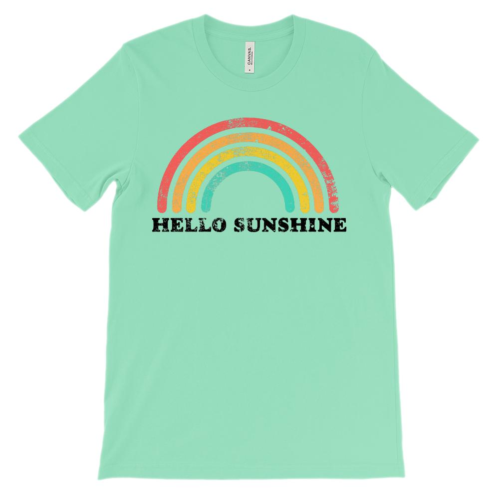 (Unisex BC 3001 Soft Tee - Lights) Hello Sunshine Retro Vintage Rainbow
