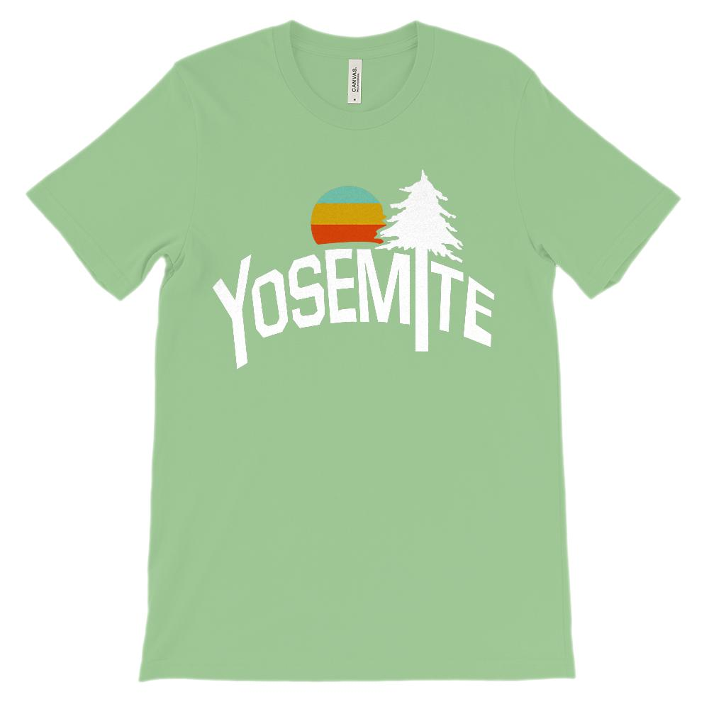 (Unisex BC 3001 Soft Tee - Lights) Iconic State Scenery - Yosemite California CA Graphic T-Shirt Tee BOXELS