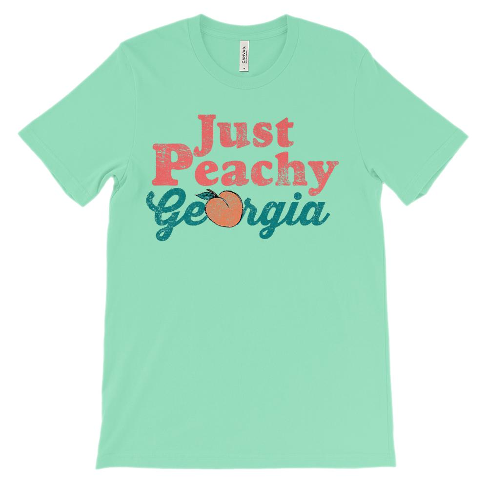 (Unisex BC 3001 Soft Tee Lights) Just Peachy Georgia (Dark Pink Font) Graphic T-Shirt Tee BOXELS