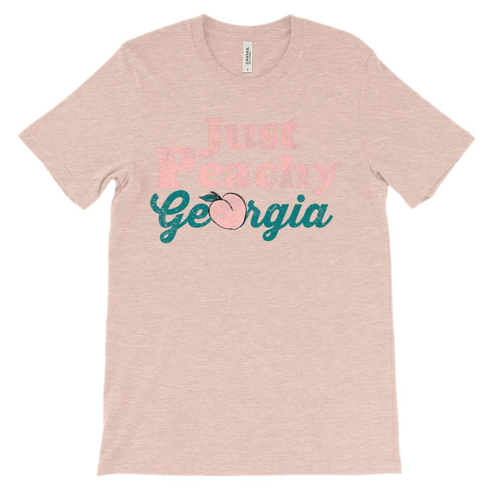 (Unisex BC 3001 Soft Tee - Lights) Just Peachy Georgia Peach (pink) Graphic T-Shirt Tee BOXELS