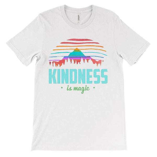 (Unisex BC 3001 Soft Tee - Lights) Kindness is Magic Outdoors Sunset Graphic T-Shirt Tee BOXELS