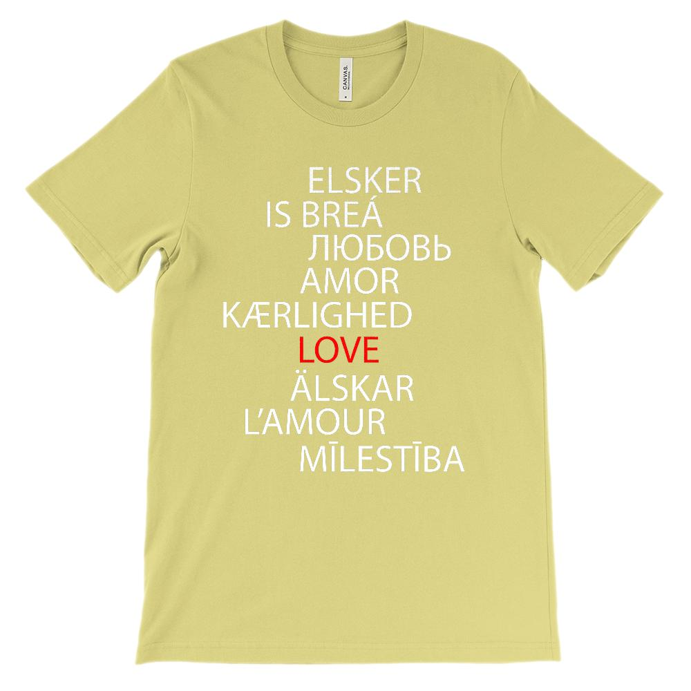 (Unisex BC 3001 Soft Tee - Lights) Love in Many Languages Graphic T-Shirt Tee BOXELS