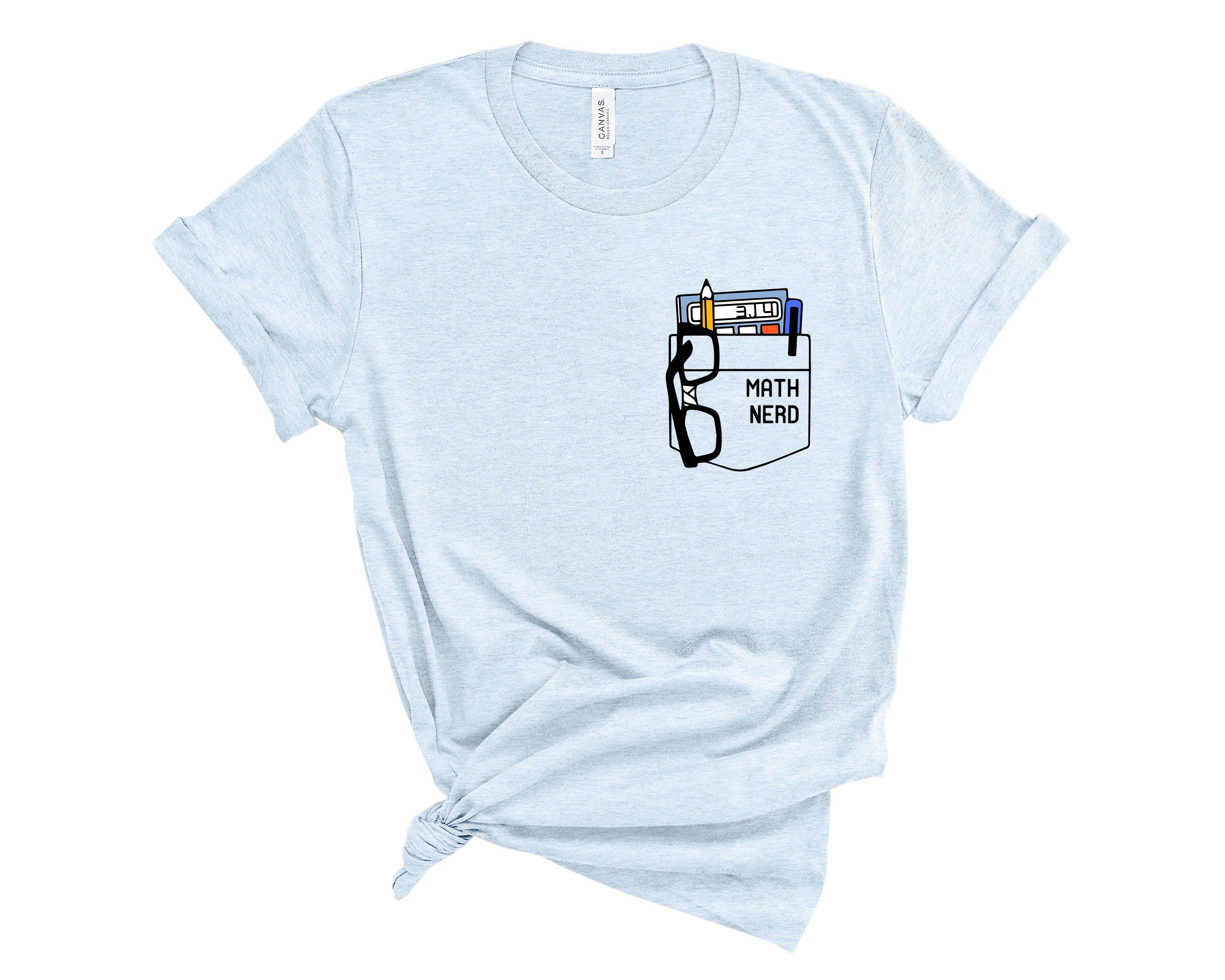 (Unisex BC 3001 Soft Tee - Lights) Math Nerd Fake Pocket Graphic T-Shirt Tee BOXELS