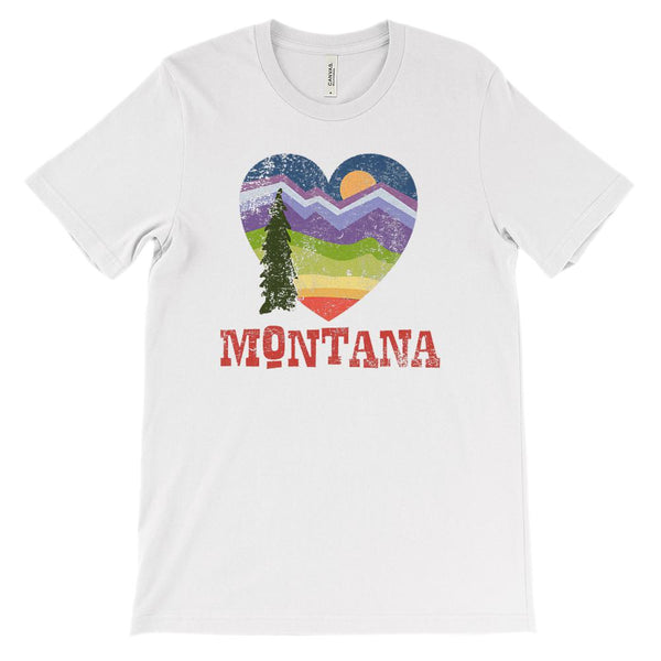 (Unisex BC 3001 Soft Tee - Lights) Montana Hearth Love Scenic Graphic T-Shirt Tee BOXELS