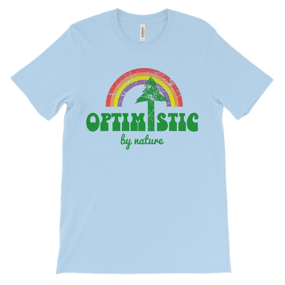 (Unisex BC 3001 Soft Tee Lights) Optimistic By Nature Tree Rainbow Darker Graphic T-Shirt Tee BOXELS
