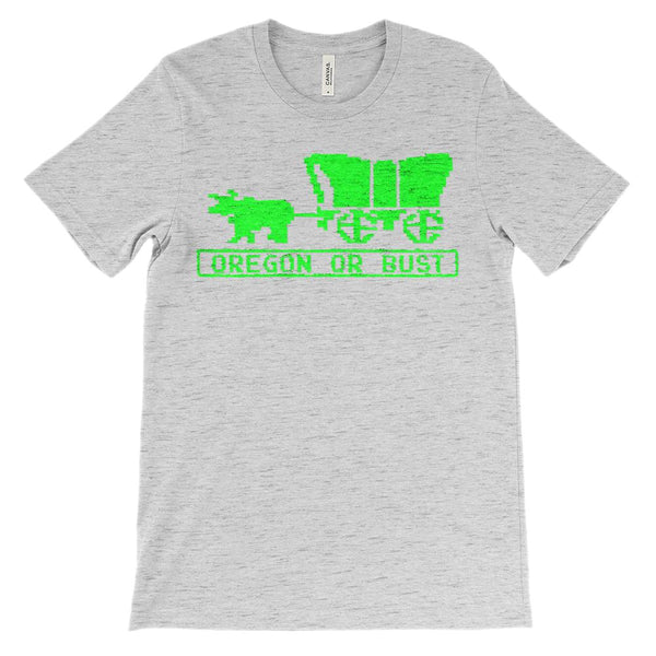 (Unisex BC 3001 Soft Tee Lights) Oregon Trail or Bust Retro Graphic T-Shirt Tee BOXELS