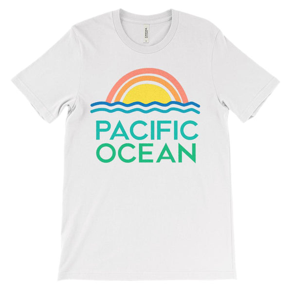 (Unisex BC 3001 Soft Tee - lights) Pacific Ocean Retro Sunset Graphic T-Shirt Tee BOXELS