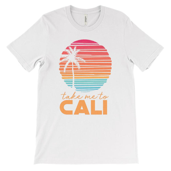 (Unisex BC 3001 Soft Tee Lights) Take me to Cali (California) Sunset Beach Palm Graphic T-Shirt Tee BOXELS