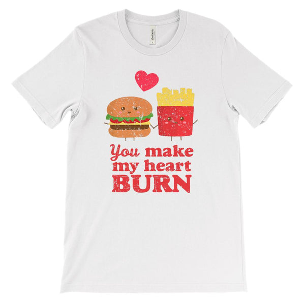 (Unisex BC 3001 Soft Tee - Lights) You Make My Heart Burn Fast Food Love Graphic T-Shirt Tee BOXELS