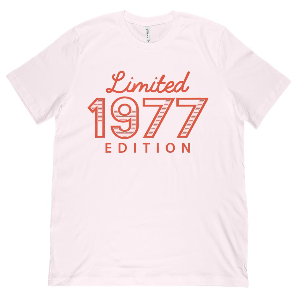 (Unisex BC 3001 Soft Tee) Limited 1977 Red Striped Edition - Made in Year Graphic T-Shirt Tee BOXELS
