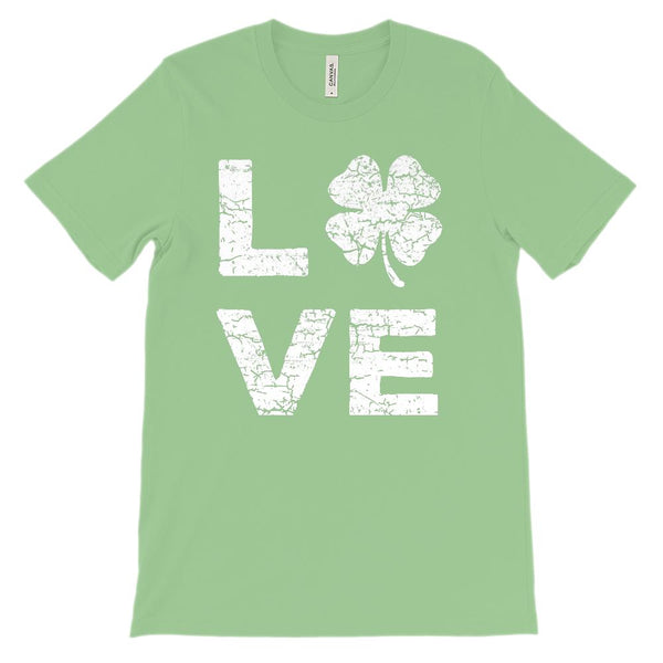 (Unisex BC 3001 Soft Tee) Love Clover (White) Graphic T-Shirt Tee BOXELS