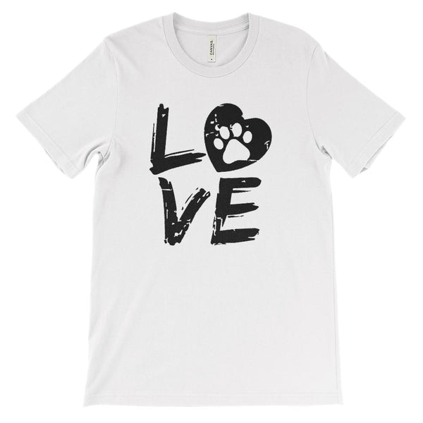 (Unisex BC 3001 Soft Tee) Love Paw Dog Heart Animals Pets Graphic T-Shirt Tee BOXELS