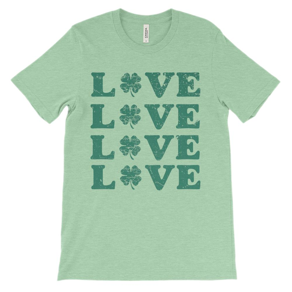 (Unisex BC 3001 Soft Tee) Love x 4 Clover (green) Graphic T-Shirt Tee BOXELS