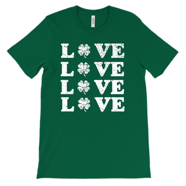 (Unisex BC 3001 Soft Tee) Love x 4 Clover (white) Graphic T-Shirt Tee BOXELS