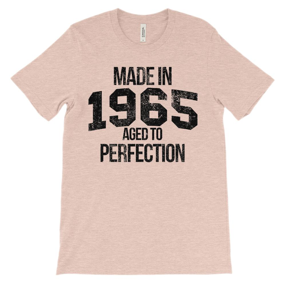 (Unisex BC 3001 Soft Tee) Made in 1965 Aged to Perfection Black Font Graphic T-Shirt Tee BOXELS