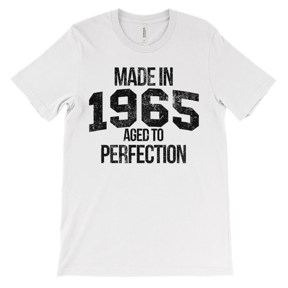 (Unisex BC 3001 Soft Tee) Made in 1965 Aged to Perfection Black Font