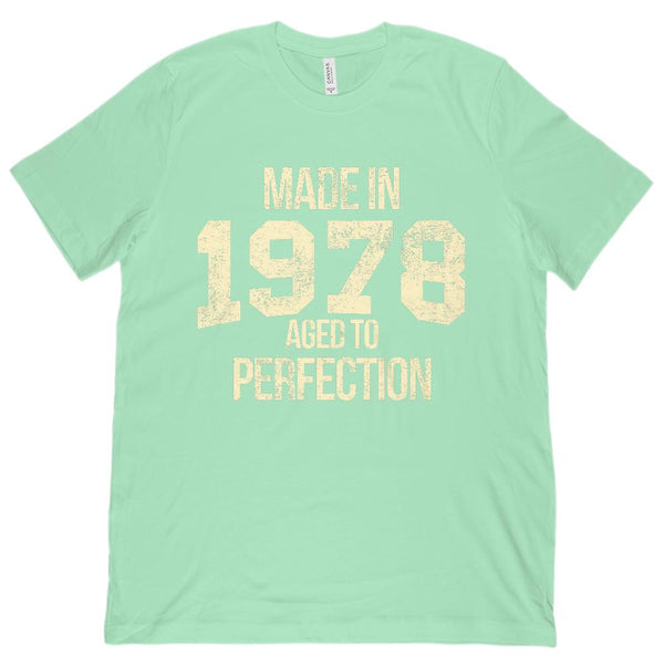 (Unisex BC 3001 Soft Tee) Made in 1978 Aged to Perfection | Cream Font Graphic T-Shirt Tee BOXELS