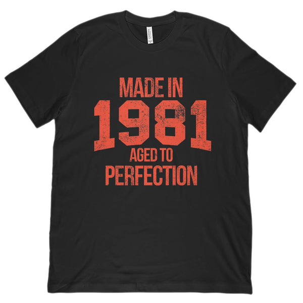 (Unisex BC 3001 Soft Tee) Made in 1981 Aged to Perfection Red Font Graphic T-Shirt Tee BOXELS