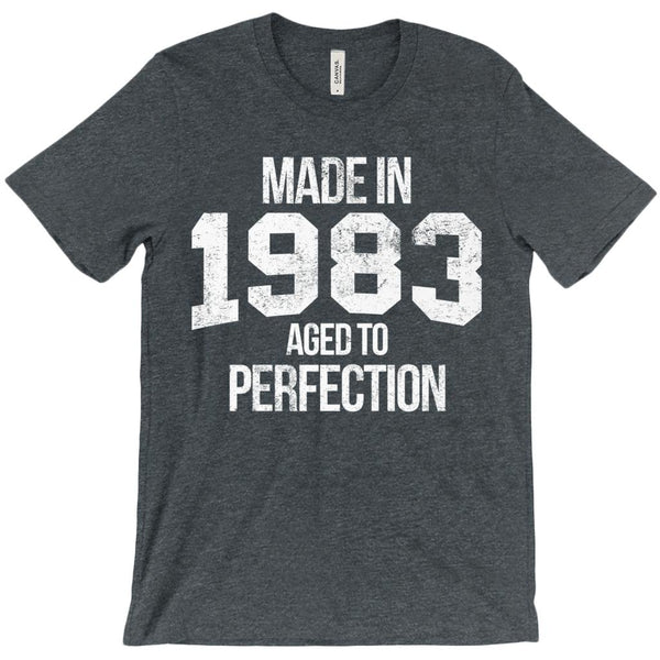 (Unisex BC 3001 Soft Tee) Made in 1983 Aged to Perfection White Font Graphic T-Shirt Tee BOXELS