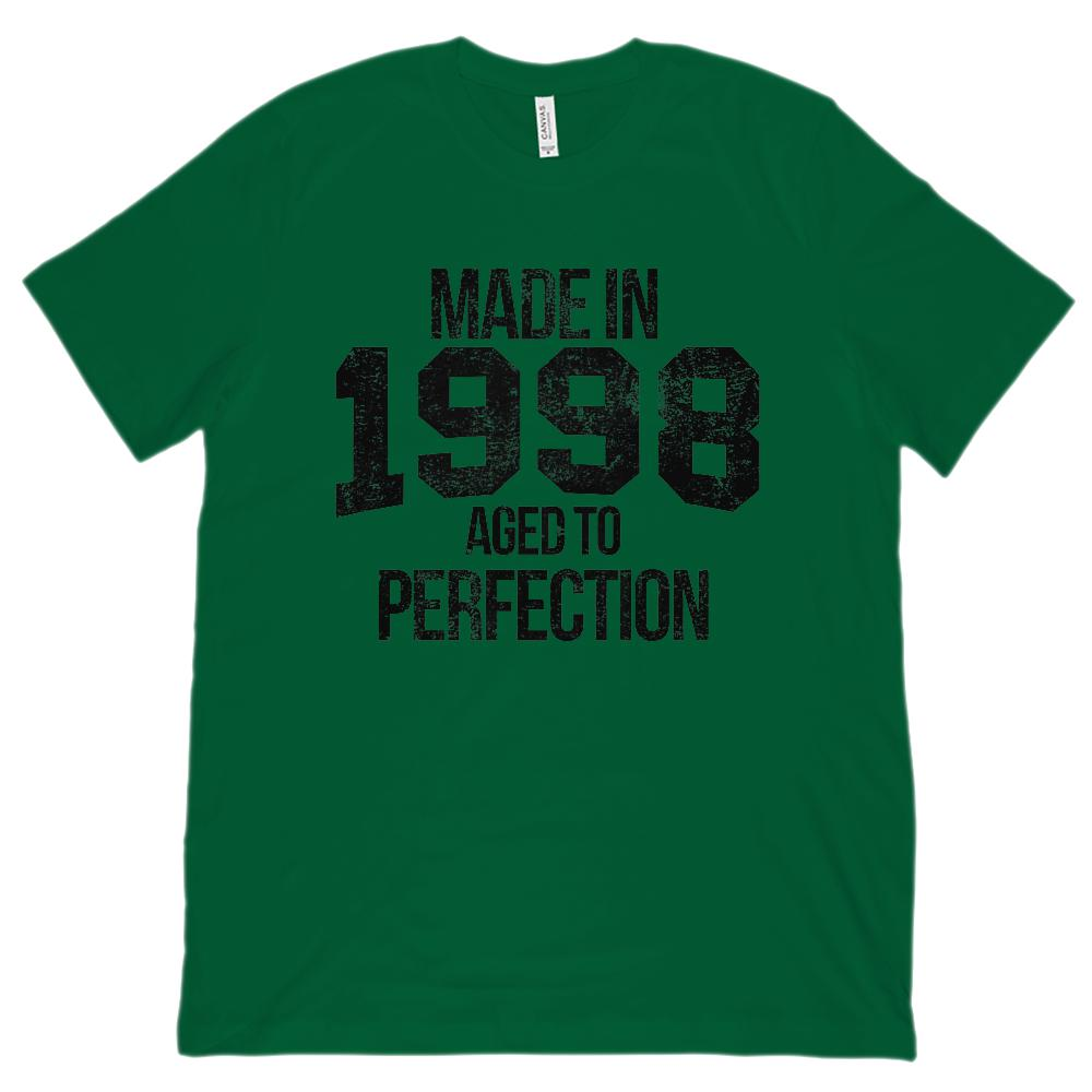 (Unisex BC 3001 Soft Tee) Made in 1998 Aged to Perfection Black Font Graphic T-Shirt Tee BOXELS