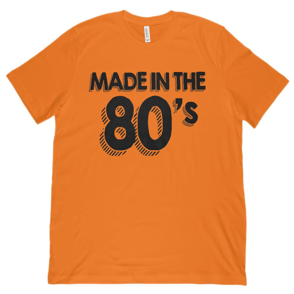 (Unisex BC 3001 Soft Tee) Made in the 80's (1980's) Retro (black font) Graphic T-Shirt Tee BOXELS