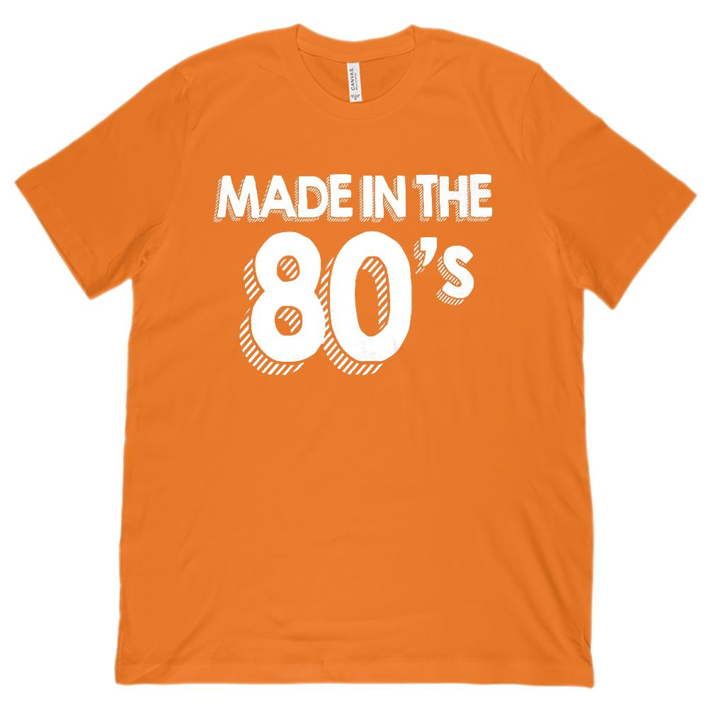 (Unisex BC 3001 Soft Tee) Made in the 80's (1980's) Retro (white font) Graphic T-Shirt Tee BOXELS