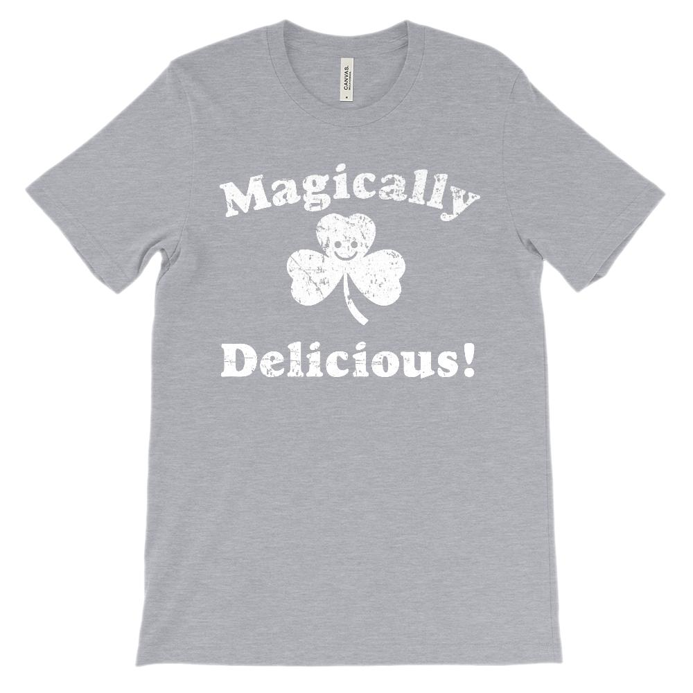 (Unisex BC 3001 Soft Tee) Magically Delicious St. Patrick's Day (White) Graphic T-Shirt Tee BOXELS