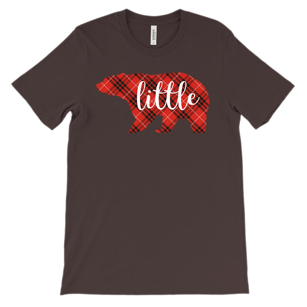 (Unisex BC 3001 Soft Tee) Matching Christmas Plaid Bear Tees (little) Red Graphic T-Shirt Tee BOXELS