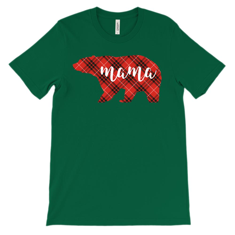 (Unisex BC 3001 Soft Tee) Matching Christmas Plaid Bear Tees (Mama) Red Graphic T-Shirt Tee BOXELS
