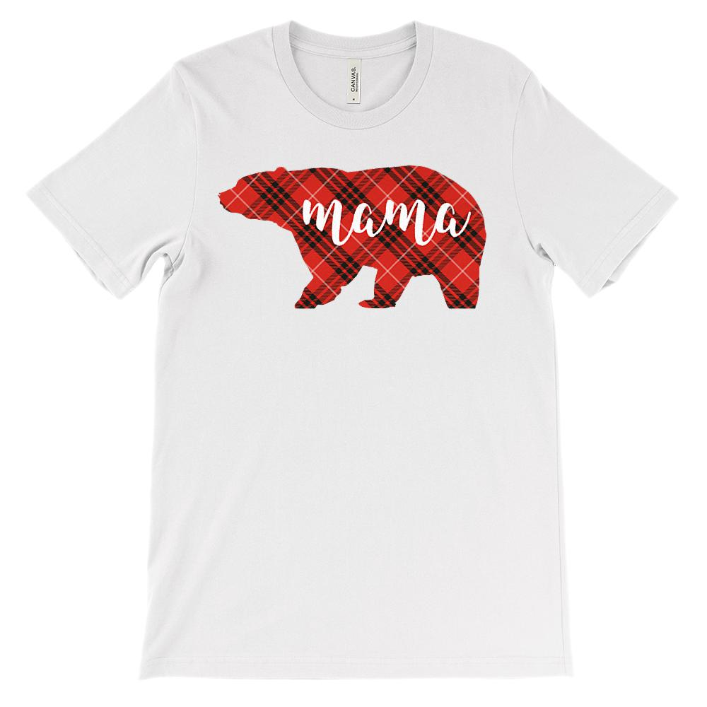 (Unisex BC 3001 Soft Tee) Matching Christmas Plaid Bear Tees (Mama) Red