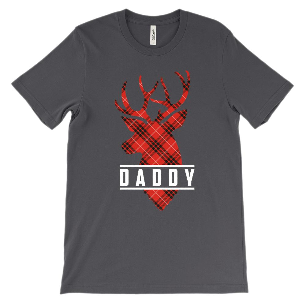 (Unisex BC 3001 Soft Tee) Matching Set Daddy (Buck Deer Reindeer) White & Red Graphic T-Shirt Tee BOXELS