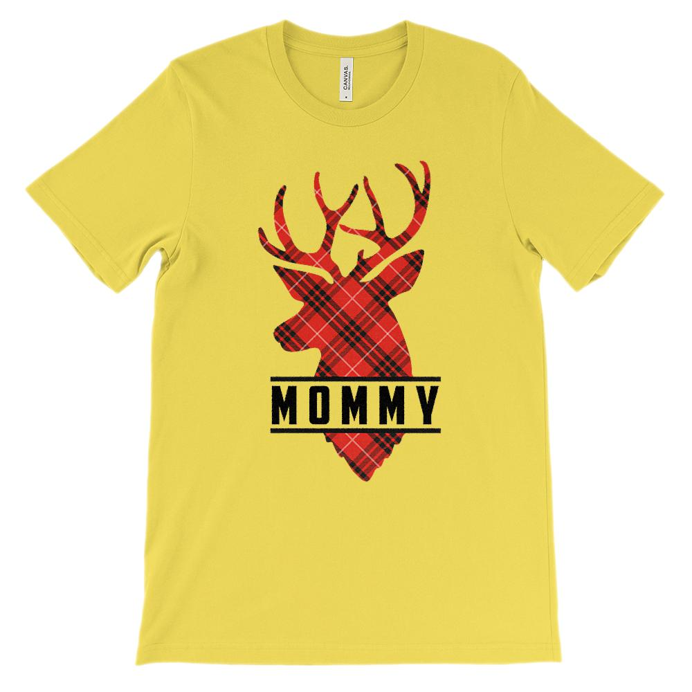 (Unisex BC 3001 Soft Tee) Matching Set Mommy (Buck Deer Reindeer) Red & Black Graphic T-Shirt Tee BOXELS