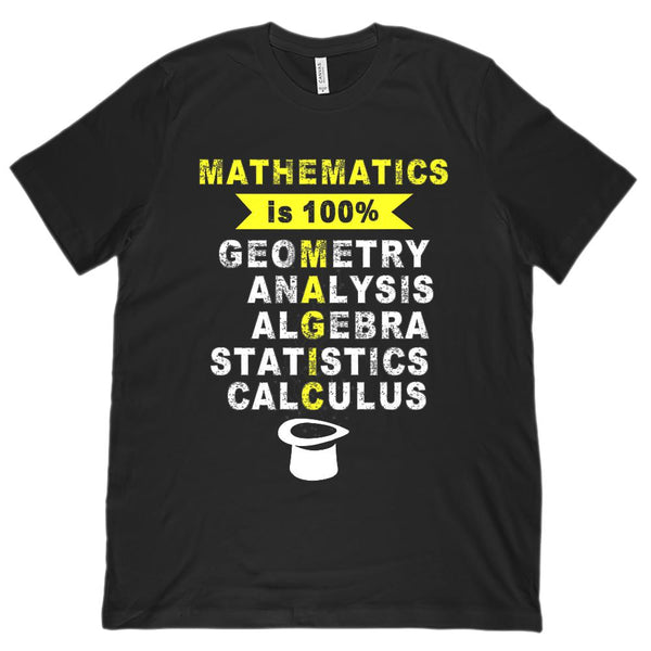 (Unisex BC 3001 Soft Tee) Mathematics is 100% MAGIC Funny Math Graphic T-Shirt Tee BOXELS