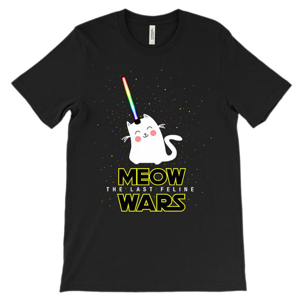 (Unisex BC 3001 Soft Tee) Meow Wars The Last Feline Space Star Graphic T-Shirt Tee BOXELS